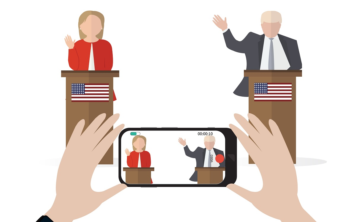 Live streaming. Presidential candidate speaks to people from tribune