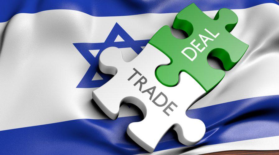 Israel trade deals and international commerce concept, 3D rendering