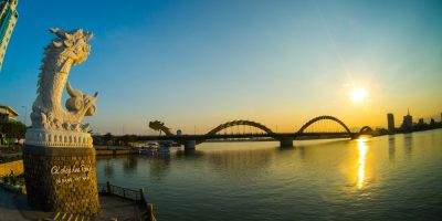 Dragon River Bridge ( Rong Bridge) in sunset in Da Nang, Vietnam