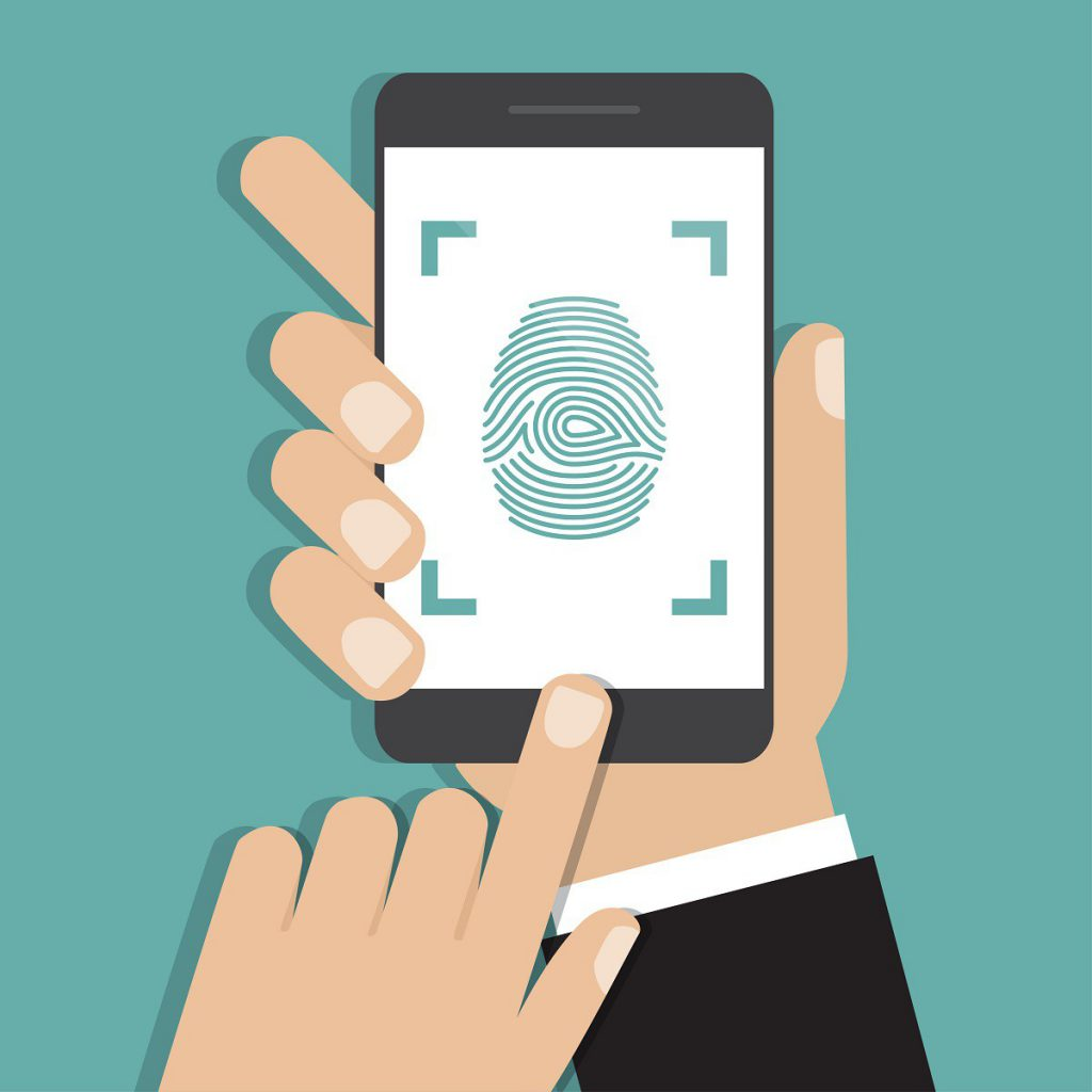 Hand holding smartphone with finger print