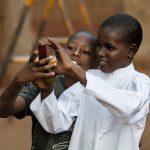 Africa, kids, smartphone
