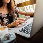 Computer coffee girl table gig-economy