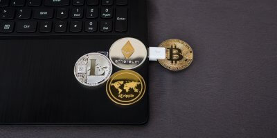 bitcoin etherium coin laptop