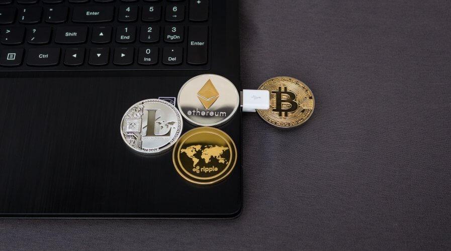 bitcoin etherium coin laptop