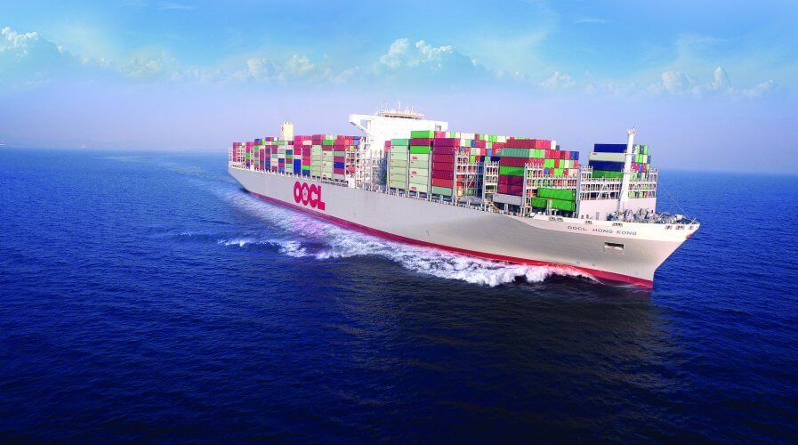 OOCL container ship in motion