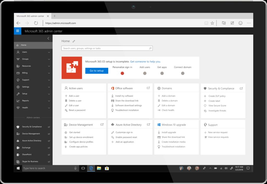 The Microsoft 365 admin center.